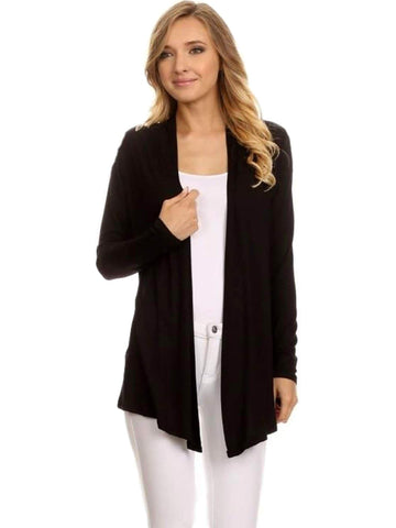 Curvy Girl Solid Cardigan, Black-CURVY CARDIGANS-Nadia-3XL-Black-Chic Boutique and Gift Emporium