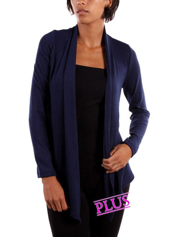 Curvy Girl Solid Cardigan,Black (Size 1XL)-Flash Sale-Nadia-1XL-Black-Chic Boutique and Gift Emporium