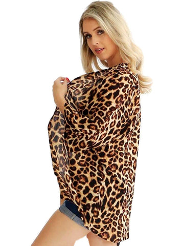 Curvy Leopard 3/4 Sleeve Chiffon Cardigan, Multi-CURVY CARDIGANS-August 22-Chic Boutique and Gift Emporium