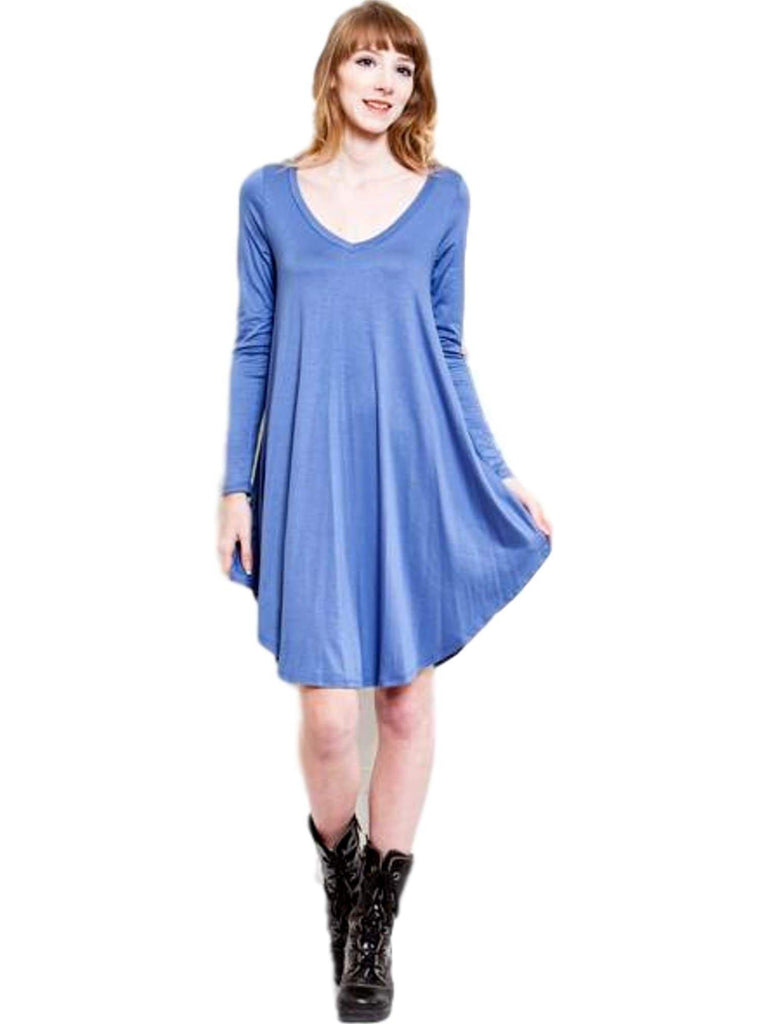 Curvy Long Sleeve Flared Tunic Dress, Indigo (Size 2XL)-Flash Sale-Reborn J-2XL-Indigo-Chic Boutique and Gift Emporium