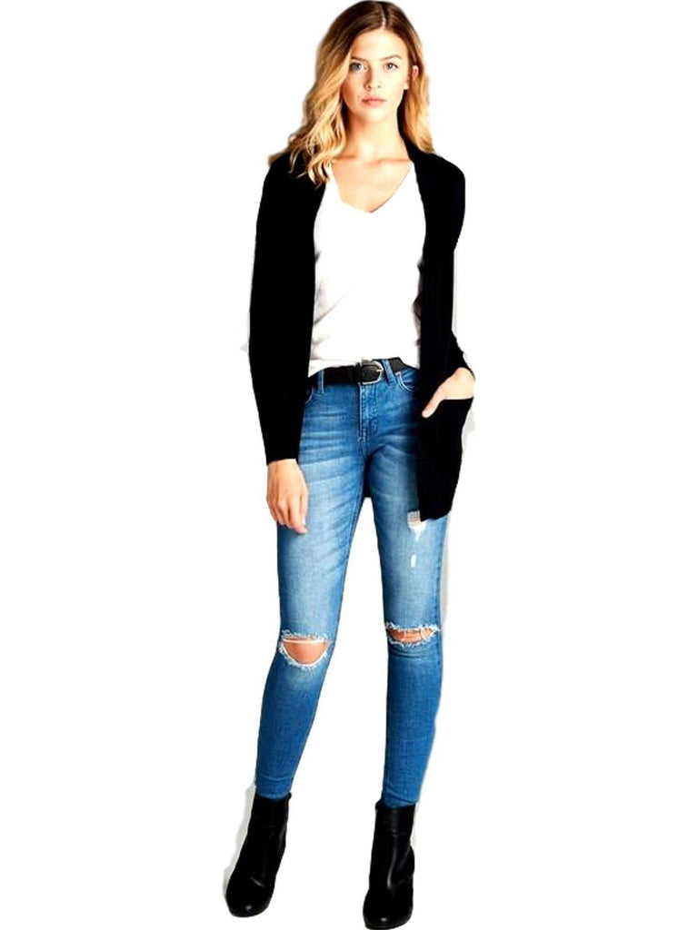 Curvy Long Sleeve Rib Banded Open Cardigan, Black-CURVY CARDIGANS-Active Basic-Chic Boutique and Gift Emporium