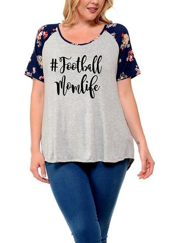 "Curvy Raglan Floral Short Sleeve Raglan Top, #Football Mom Life"", Heather Grey-CURVY TOPS-Timeline Fashion-Chic Boutique and Gift Emporium"