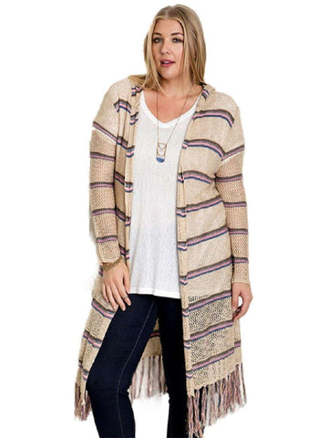 Curvy Striped Long Sleeve Cardigan,Tan-Pink-Flash Sale-Umgee-Chic Boutique and Gift Emporium