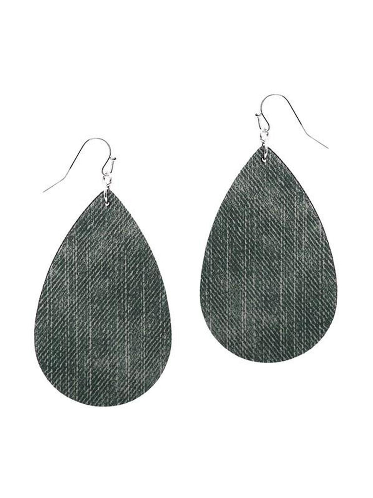 Denim Teardrop Leather Earring, Black-EARRINGS-Suzie Q-OS-Black-Chic Boutique and Gift Emporium