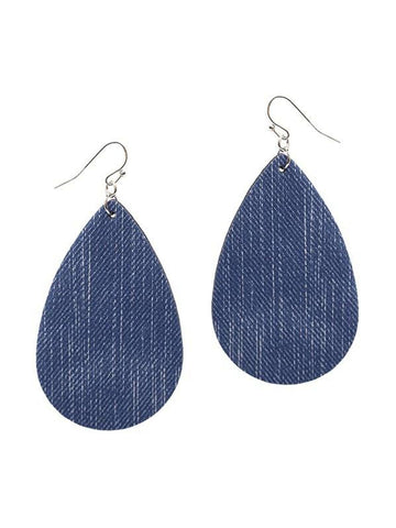 Denim Teardrop Leather Earring, Blue-EARRINGS-Suzie Q-OS-Blue-Chic Boutique and Gift Emporium