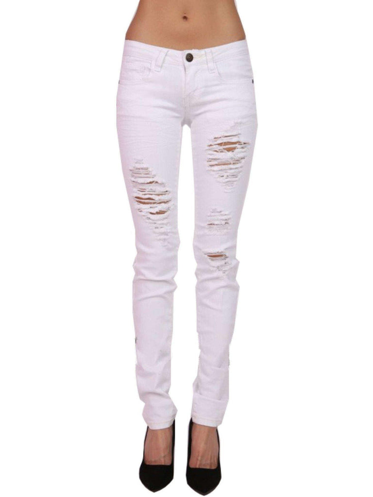 Destroyed Skinny Jeans, White-JEANS-Kan Can-3-White-Chic Boutique and Gift Emporium