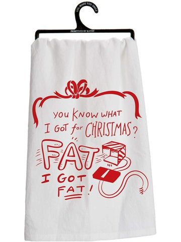 "Dish Towel - Got Fat-CHRISTMAS GIFTS-primitives by kathy-28"" Square-Multi-Chic Boutique and Gift Emporium"