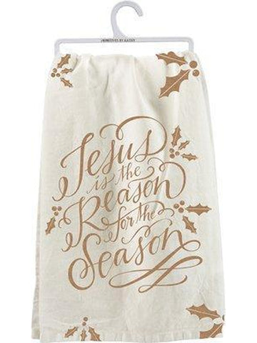 "Dish Towel - Jesus is Reason-CHRISTMAS GIFTS-primitives by kathy-28"" Square-Multi-Chic Boutique and Gift Emporium"