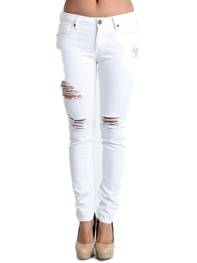 Distressed Skinny Jeans, White-JEANS-E BE-Chic Boutique and Gift Emporium