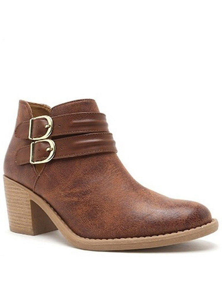 Double Buckle Bootie, Cognac-BOOTIES-Verona Collection-Chic Boutique and Gift Emporium