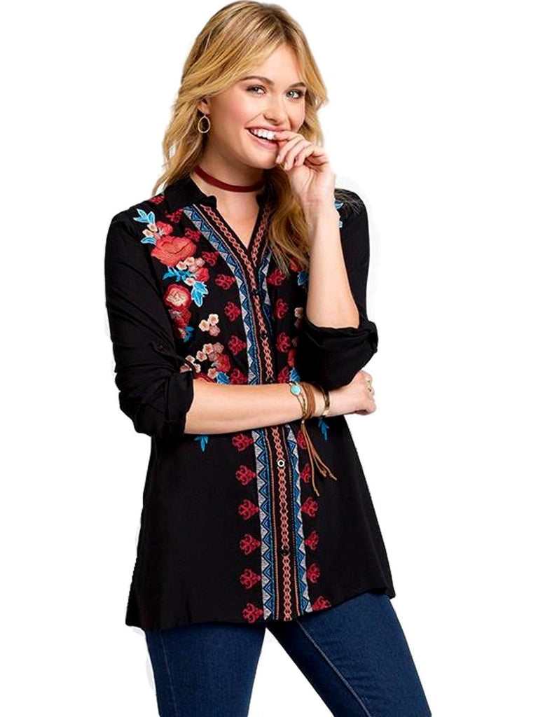 Embroidery Roll up Sleeve Top, Black-CASUAL TOPS-Andree-Chic Boutique and Gift Emporium