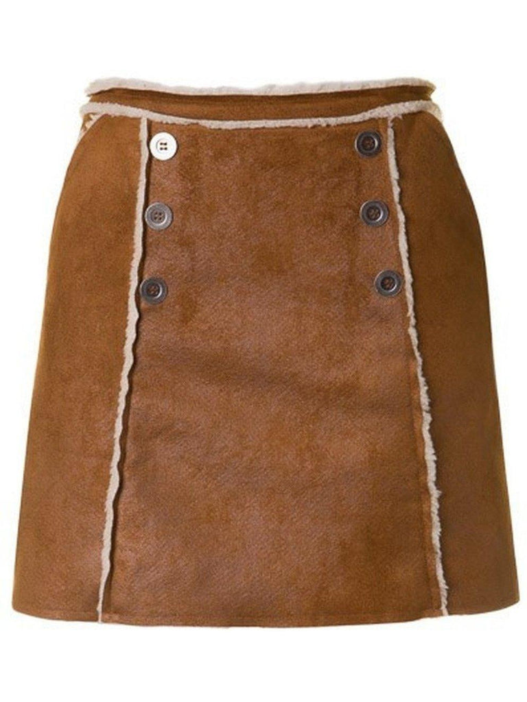 Faux Leather Skirt w/Button, Camel-SKIRTS-Fascination-Chic Boutique and Gift Emporium