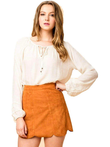 Faux Suede Scallop Skirt, Camel-SKIRTS-HYFVE-Chic Boutique and Gift Emporium