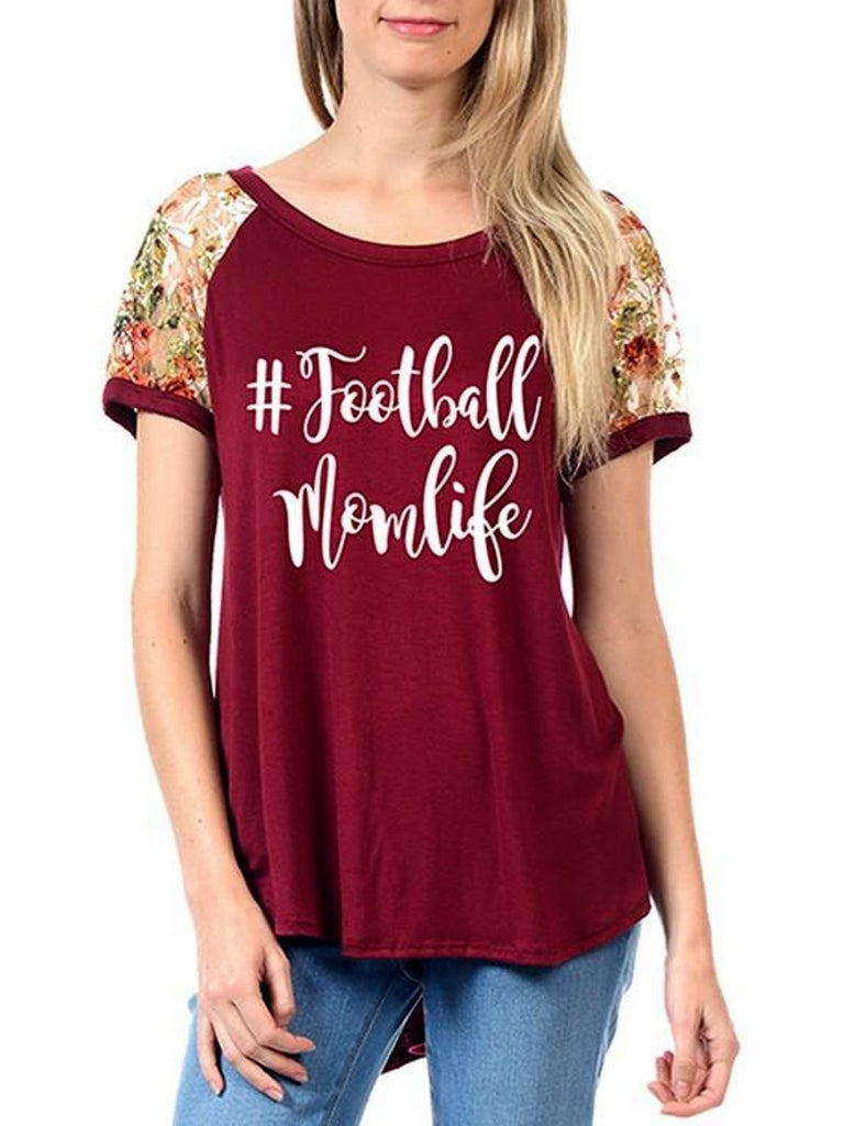 "Floral Lace Short Sleeve Raglan Top #Football Mom Life"", Burgundy-GRAPHIC TOPS-Timeline Fashion-Chic Boutique and Gift Emporium"