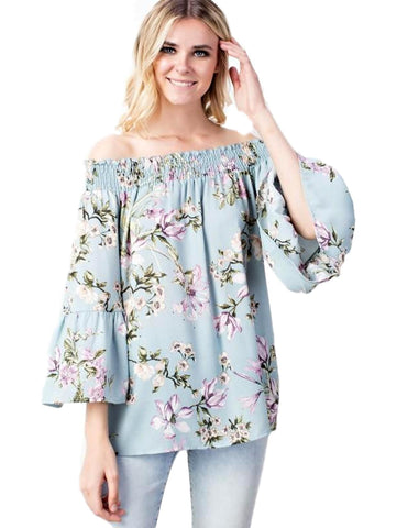 Floral Smocked Off Shoulder, Ruffled Sleeve Top, Blue-CASUAL TOPS-Mittoshop-Chic Boutique and Gift Emporium