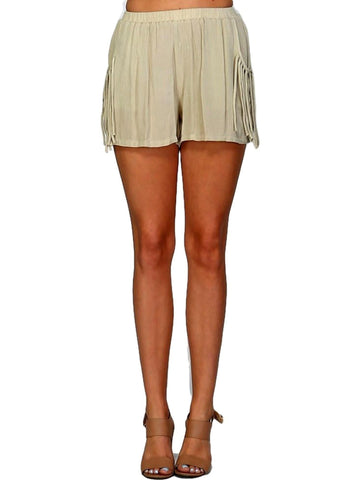 Fringe Textured Gauze Shorts,Light Olive-SHORTS-Listicle-Chic Boutique and Gift Emporium