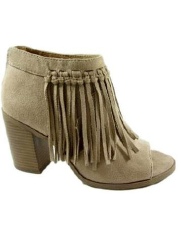 Front Fringe Suede Bootie, Lt Taupe-BOOTIES-Jalapeno Shoes-Chic Boutique and Gift Emporium