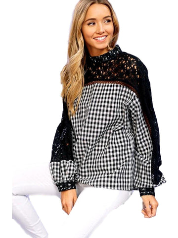 Gingham woven top with lace contrast, Black-LONG SLEEVE-Listicle-Chic Boutique and Gift Emporium
