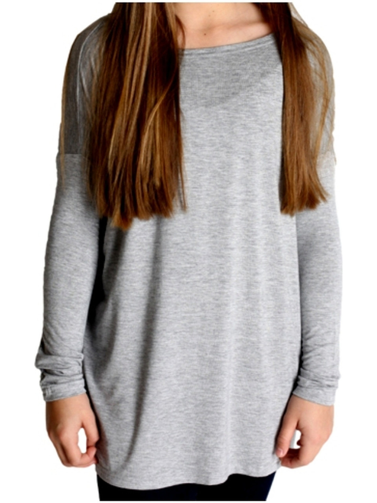 Girls Authentic Long Sleeve Piko, Heather Grey-GIRLS PIKO TOPS-PIko Fashion-Chic Boutique and Gift Emporium