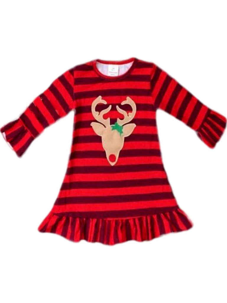 Girls Buffalo Reindeer Dress, Red-Chic's Holiday Collection-Honeydew-Chic Boutique and Gift Emporium