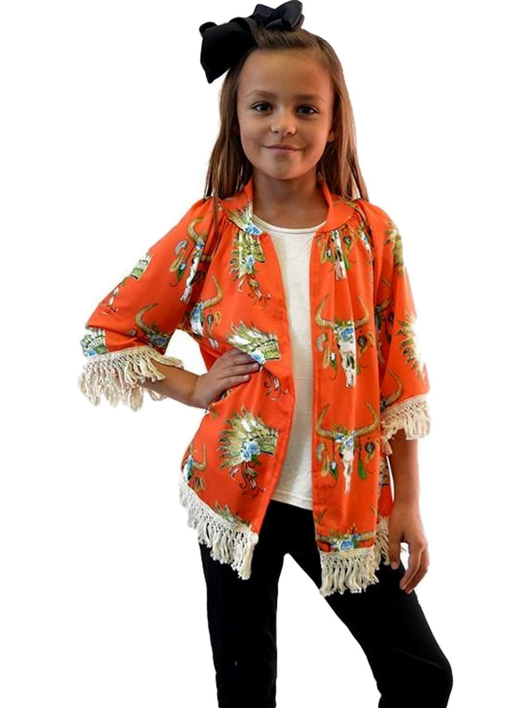 Girls Bull Skull Cardigan, Orange-Girls Cardigans-Lady's World-Chic Boutique and Gift Emporium