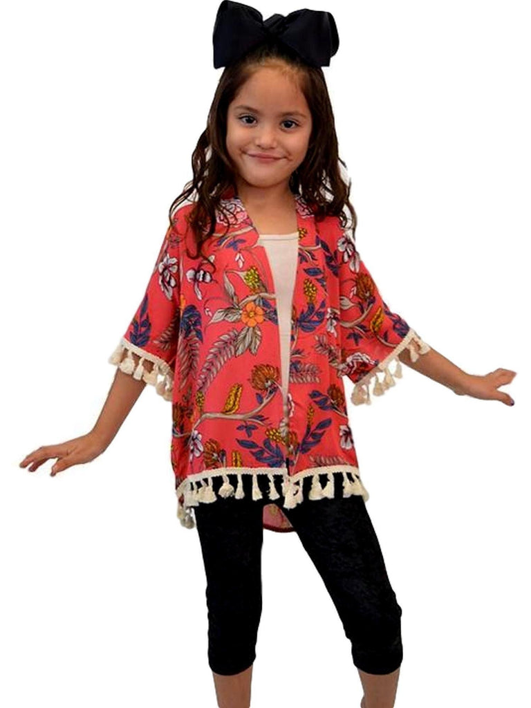 Girls Floral Cardigan, Multi-Girls Cardigans-Lady's World-Chic Boutique and Gift Emporium