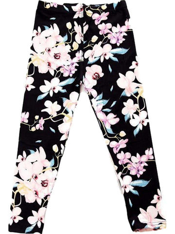 Girls Floral Print Legging, Pink-Black-GIRLS LEGGINGS-2NE1 APPAREL-Chic Boutique and Gift Emporium