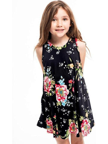 Girls Floral Printed Dress, Black-GIRLS DRESSES-POMELO-Chic Boutique and Gift Emporium