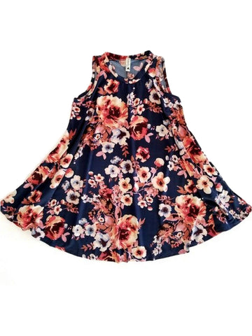 Girls Floral Printed Dress,Navy-GIRLS DRESSES-POMELO-Chic Boutique and Gift Emporium