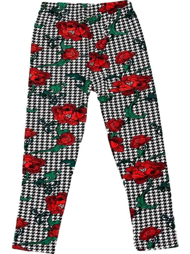 Girls Flower Houndstooth Legging, Multi-GIRLS LEGGINGS-2NE1 APPAREL-Chic Boutique and Gift Emporium