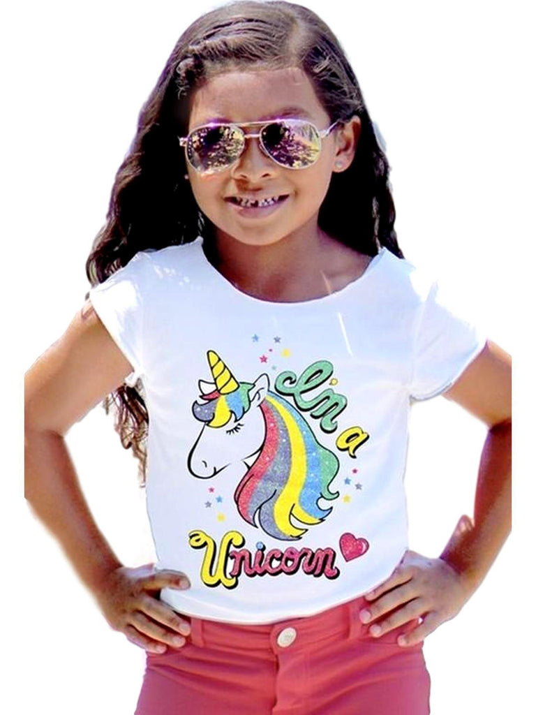 Girls Glitter Unicorn Tee, White-GIRLS TOPS-Cutie Patootie-Chic Boutique and Gift Emporium