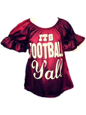 "Girls ""It's Football Y'all"" Bell Sleeve Mesh Jersey Shirt, Burgundy-White-GIRLS TOPS-POMELO-Chic Boutique and Gift Emporium"