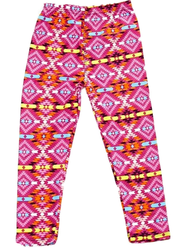 Girls Kaleidoscope Printed Legging, Pink-GIRLS LEGGINGS-2NE1 APPAREL-Chic Boutique and Gift Emporium