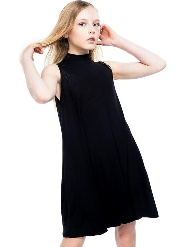 Girls Mock Neck Dress, Black-GIRLS DRESSES-POMELO-Chic Boutique and Gift Emporium