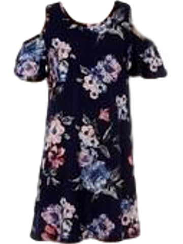 Girls Open Shoulder Floral print Dress, Navy-GIRLS DRESSES-Moa Collection-Chic Boutique and Gift Emporium