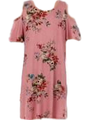 Girls Open Shoulder Floral print Dress, Pink-GIRLS DRESSES-Moa Collection-Chic Boutique and Gift Emporium