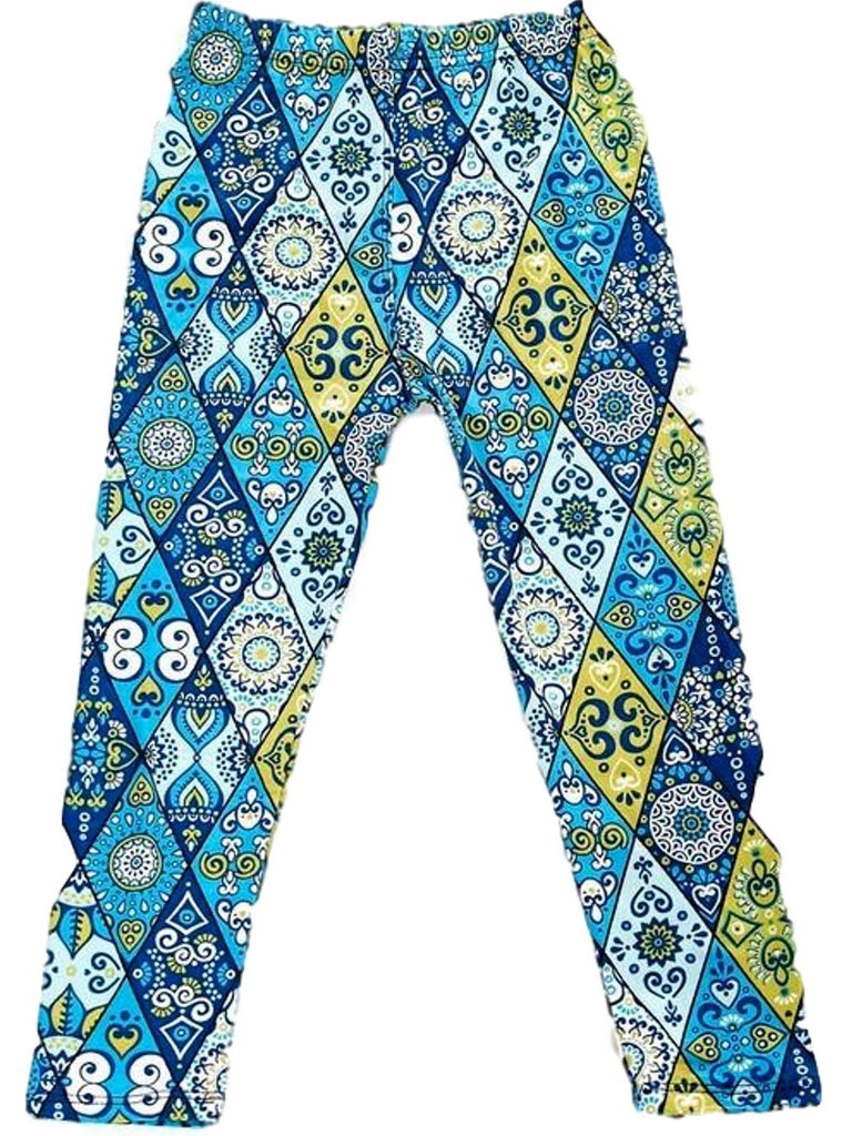 Girls Pattern Print Legging, Blue-Yellow-GIRLS LEGGINGS-2NE1 APPAREL-Chic Boutique and Gift Emporium