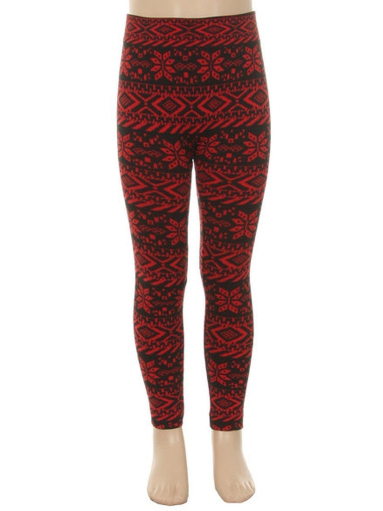 Girls Print leggings, Red-Black-GIRLS LEGGINGS-bellissima-Chic Boutique and Gift Emporium