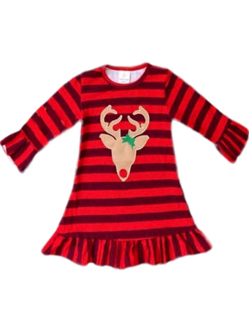 Girls Reindeer Ruffle Dress, Red Multi-Chic's Christmas Collection-Honeydew-Chic Boutique and Gift Emporium