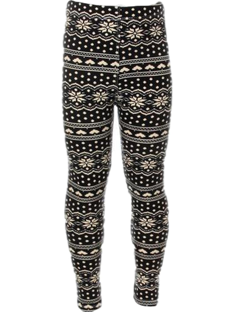 Girls Snowflake legging, Black-Cream-Chic's Christmas Collection-love it-Chic Boutique and Gift Emporium