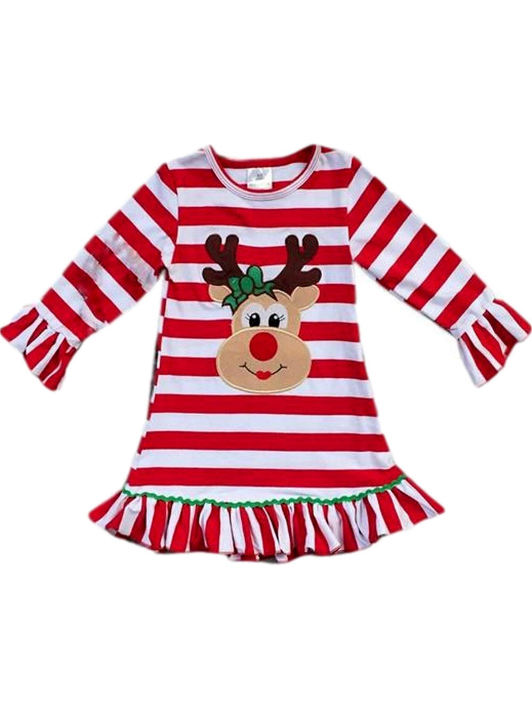 Girls Striped Reindeer Dress, Red Multi-Chic's Christmas Collection-Honeydew-Chic Boutique and Gift Emporium