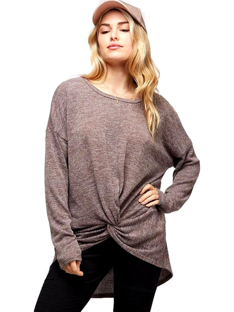Hacci Knit Knot Front Top, Mocha-LONG SLEEVE-Fantastic Fawn-Chic Boutique and Gift Emporium