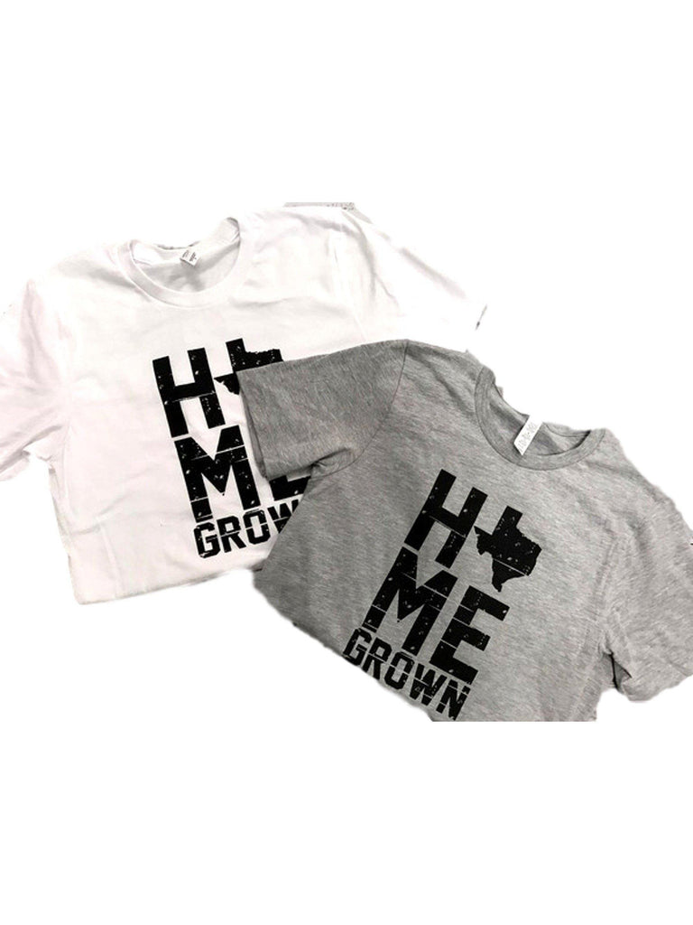 """Home Grown Texas Short Sleeve Tee"", White-SHORT SLEEVE-OCEAN & 7TH-Chic Boutique and Gift Emporium"