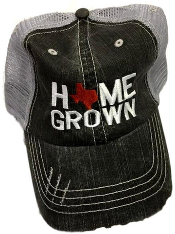 """Home Grown Texas"" Trucker Hat, Grey-HATS & HAIR-OCEAN & 7TH-OS-Grey-Chic Boutique and Gift Emporium"