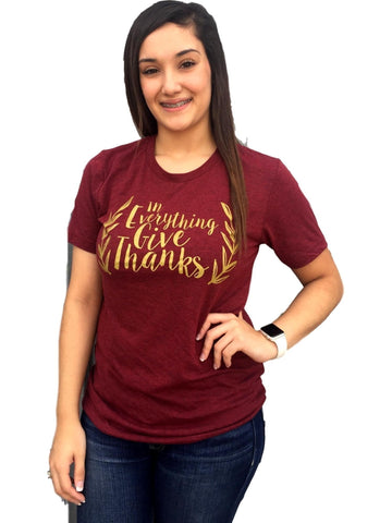 """In Everything Give Thanks"" Tee ,Cardinal-GRAPHIC TOPS-Texas True Threads-S-Cardinal-Chic Boutique and Gift Emporium"