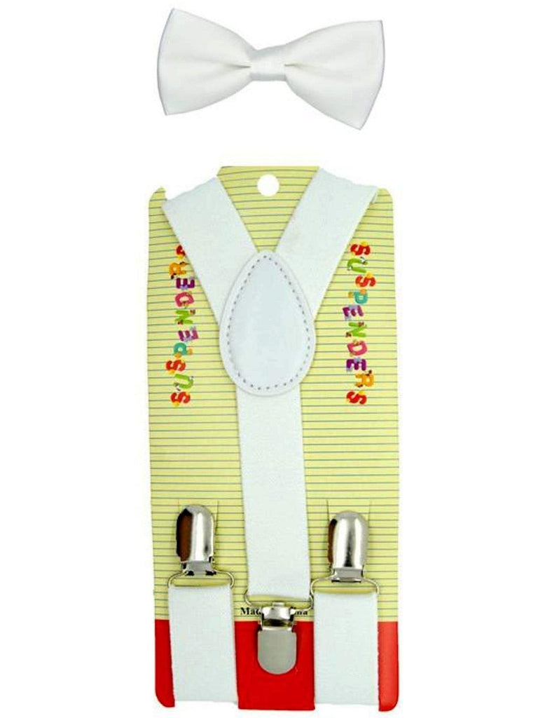 Kids Suspender Bow tie Set, White-BABY BOYS-Anna Fashions-OS-White-Chic Boutique and Gift Emporium