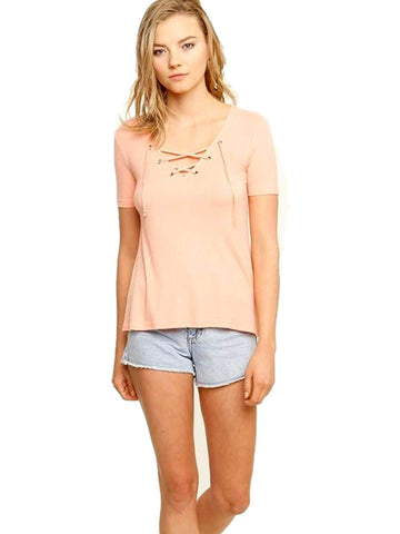 Lace Up Quarter Sleeve Tee, Peach-CASUAL TOPS-The Hanger-Chic Boutique and Gift Emporium
