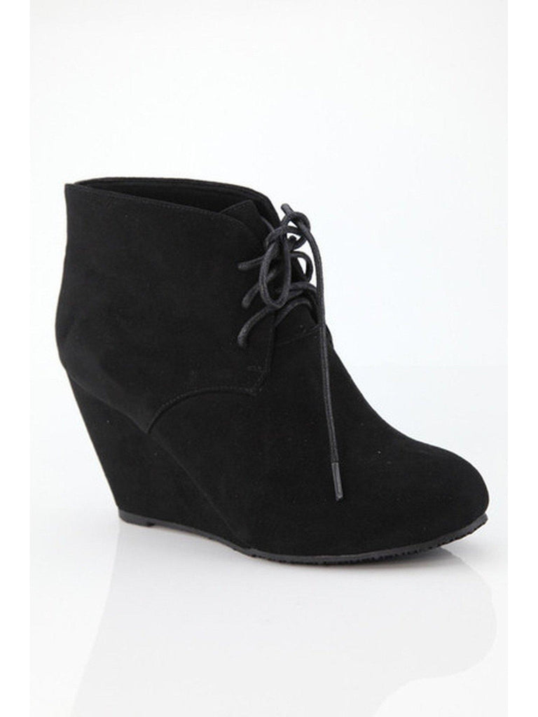 Ladies Suede Bootie, Black-BOOTIES-Ama Global-Chic Boutique and Gift Emporium