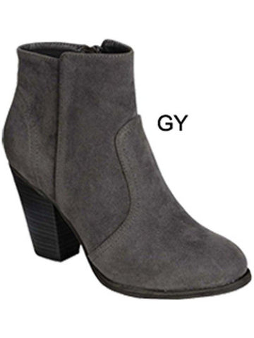 Ladies Suede Bootie, Grey-BOOTIES-Tis So Sweet-Chic Boutique and Gift Emporium