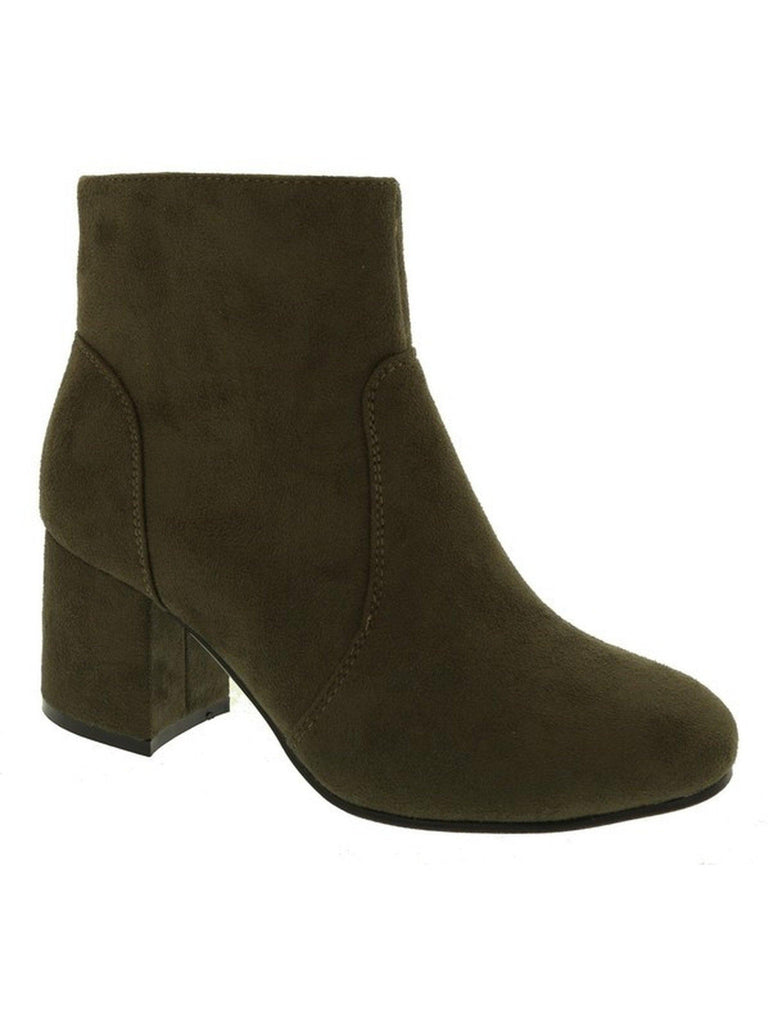 Ladies Suede Booties, Olive-BOOTIES-LETS SEE STYLE-Chic Boutique and Gift Emporium